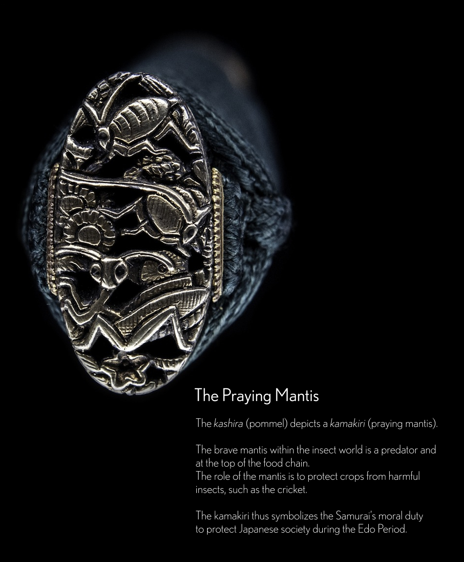 A Praying Mantis Kashira on a Japanese Sword by Yamashiro Kno Daijo Kunitsugu