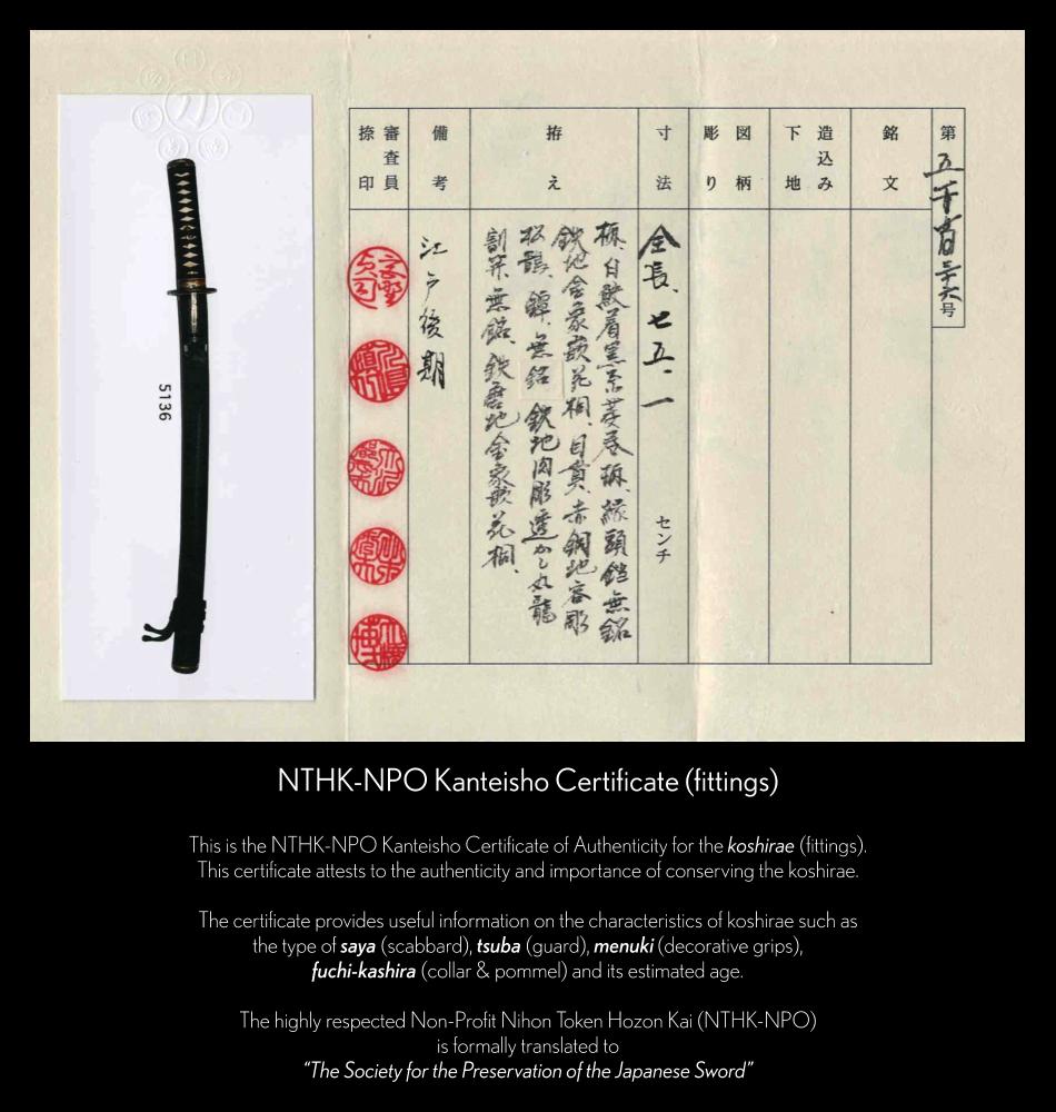 NHTK-NPO Koshirae Certificate for Sukenori Wakizashi