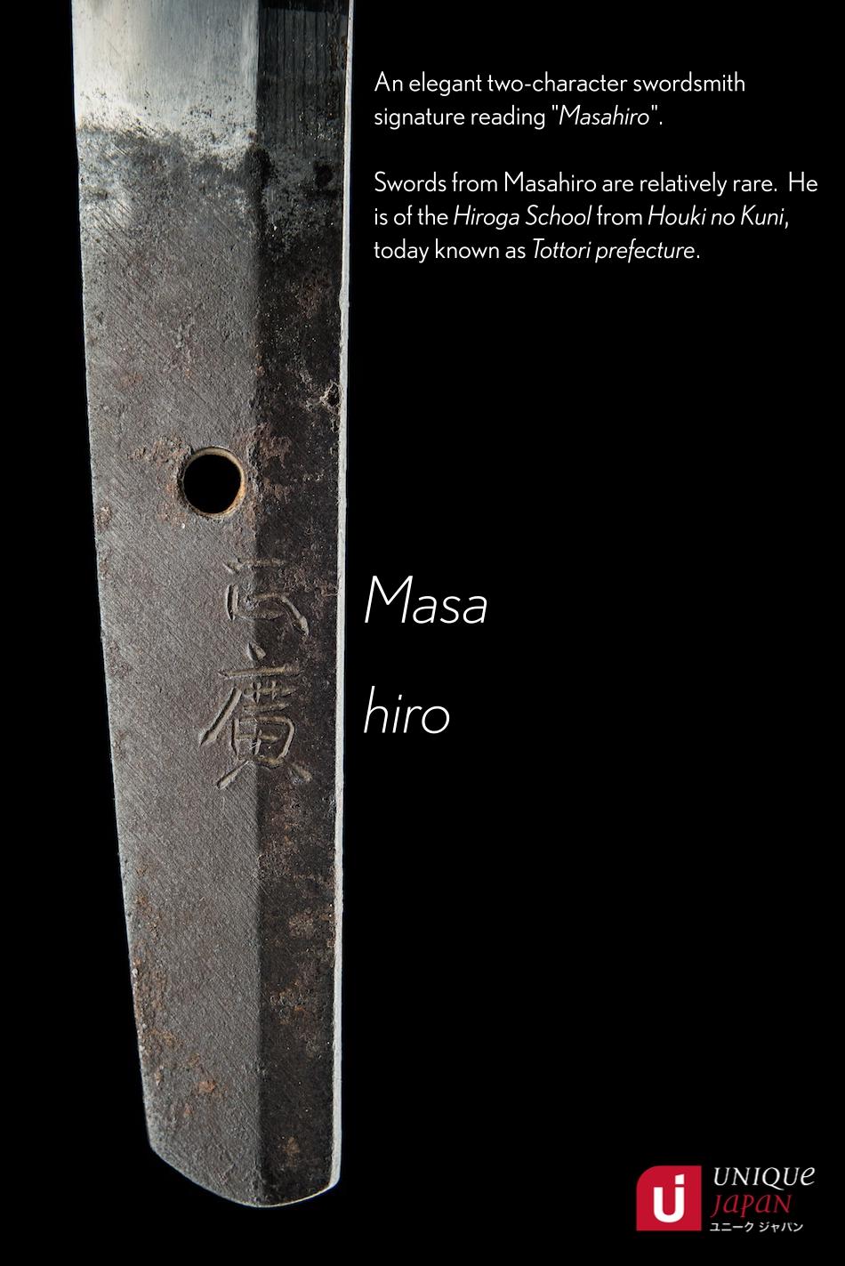 A Masahiro Wakizashi Bunroku era 1592-1596 Nakago