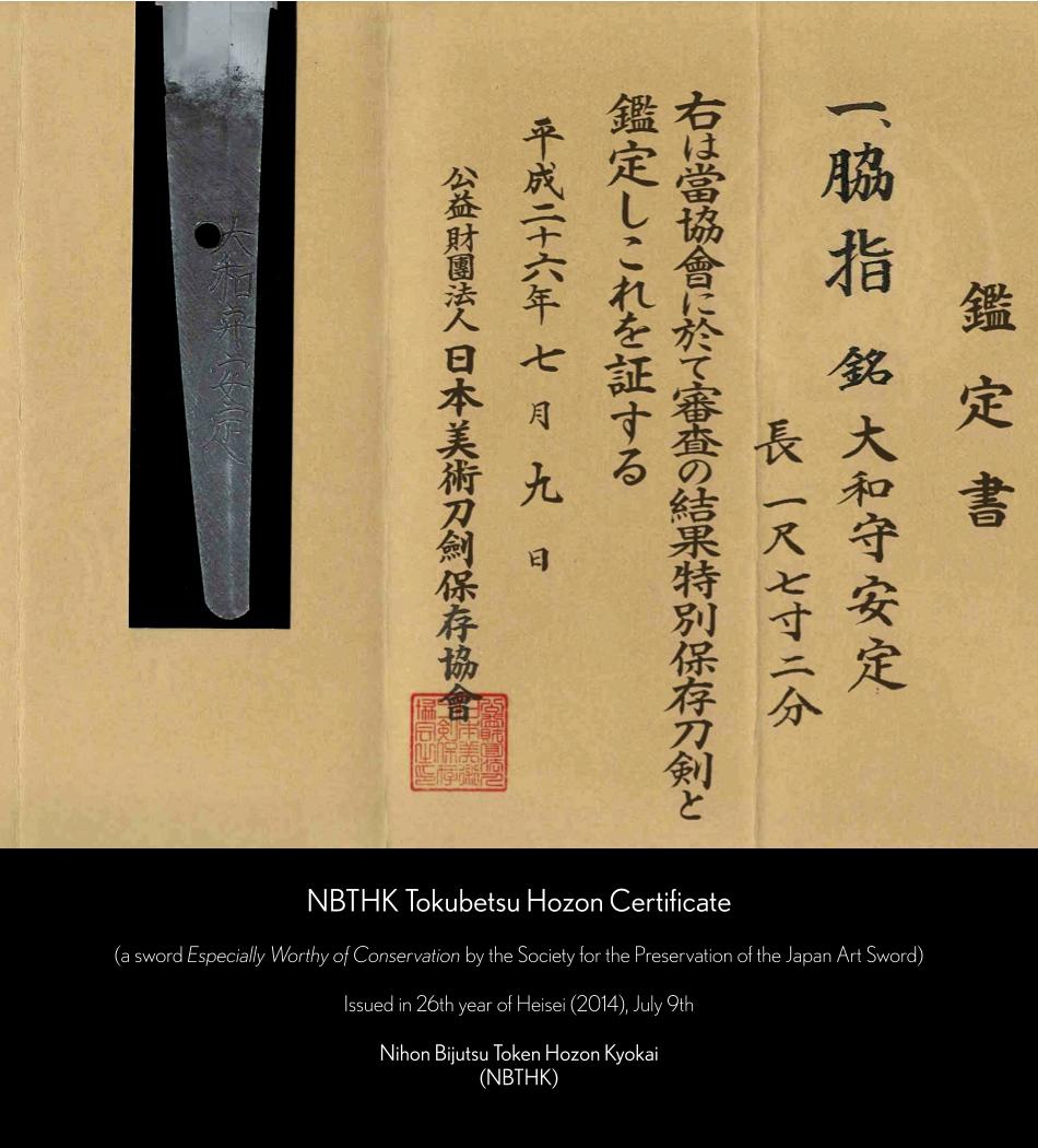 NBTHK Tokubetsu Hozon Certificate Yamato no Kami Yasusada