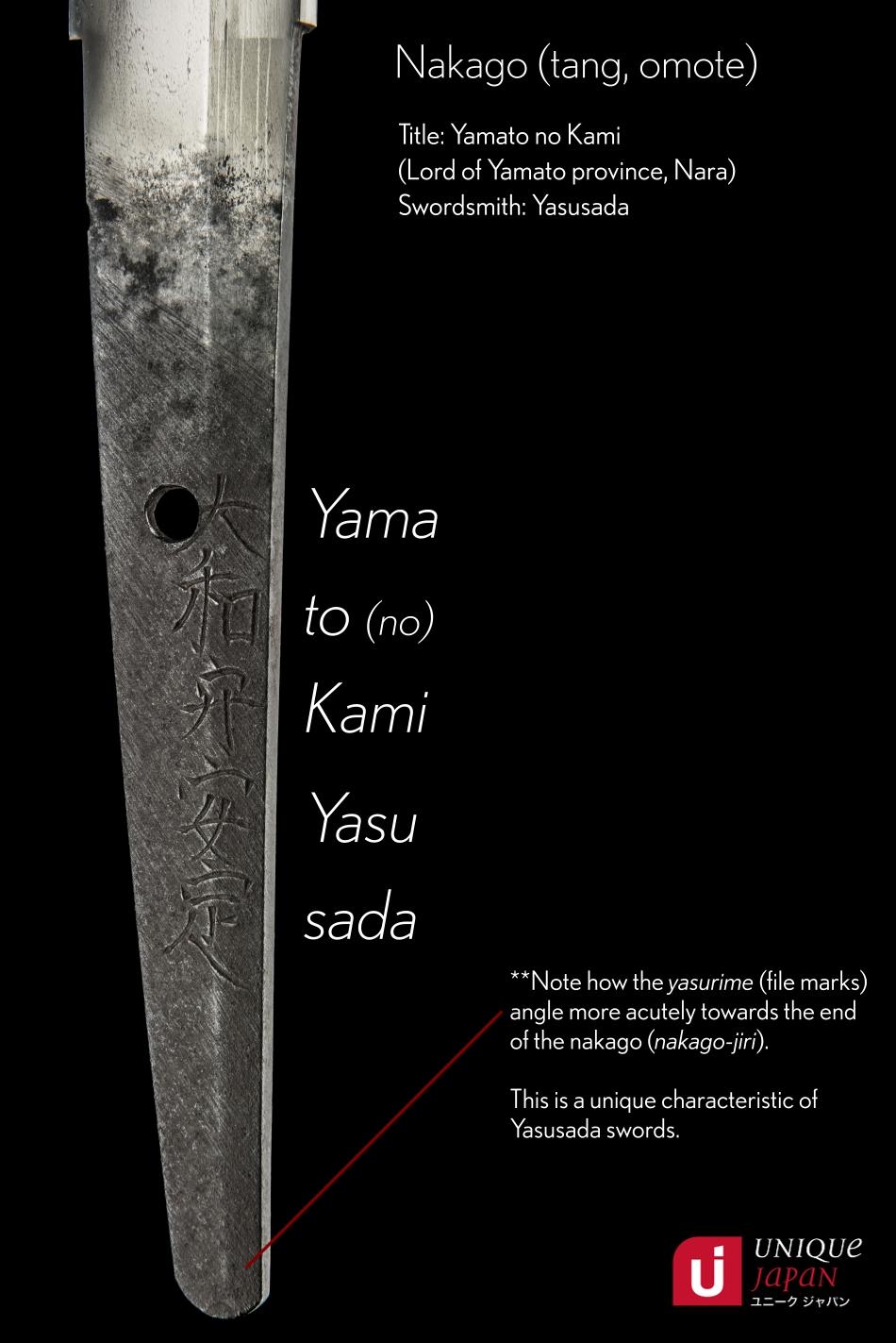Yamato no Kami Yasusada Wakizashi Nakago